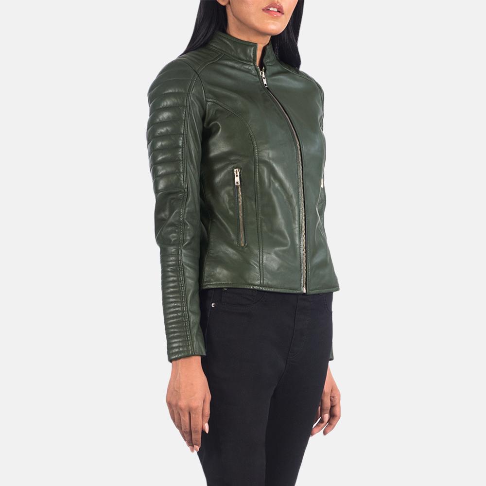 Women's Adalyn Quilted Green Leather Biker Jacket 2