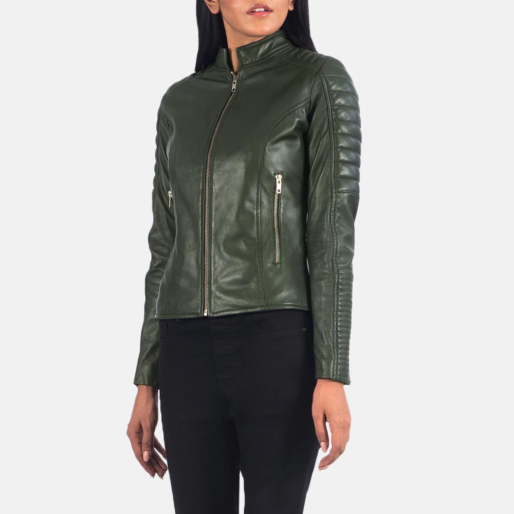 Women's Adalyn Quilted Green Leather Biker Jacket 6