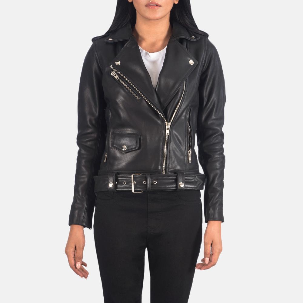 Women's Alison Black Leather Biker Jacket 4