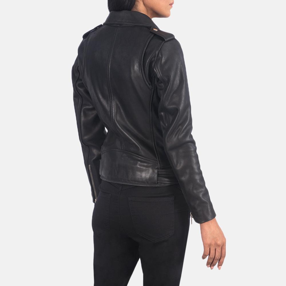 Women's Alison Black Leather Biker Jacket 5