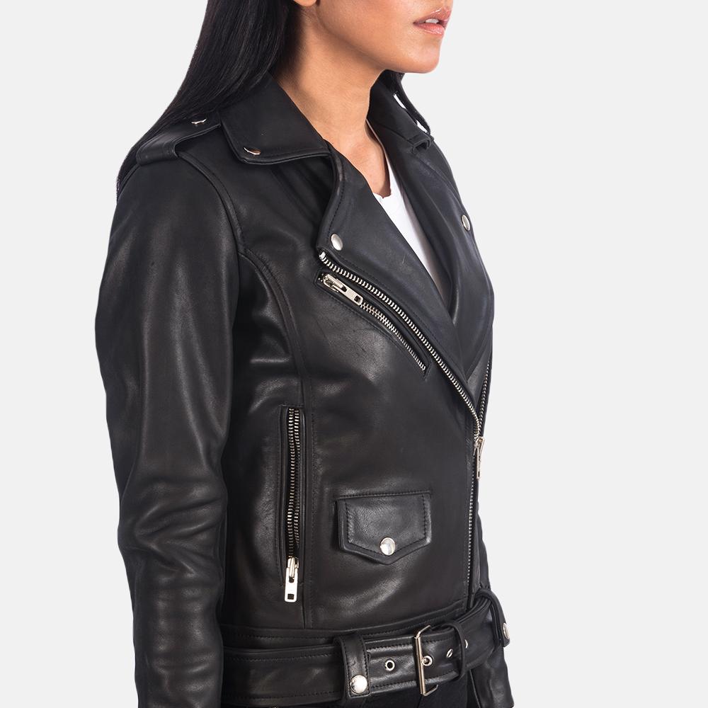 Women's Alison Black Leather Biker Jacket 6