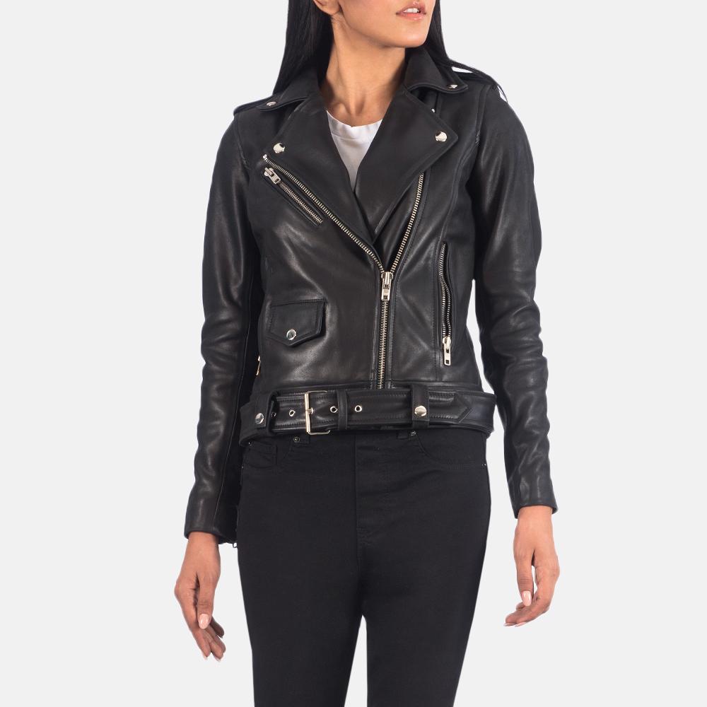 Women's Alison Black Leather Biker Jacket 2