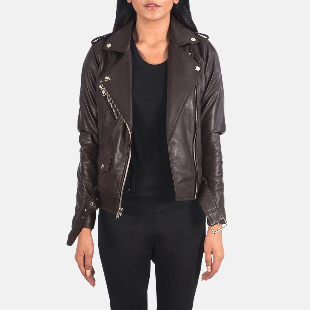 Women's Alison Brown Leather Biker Jacket 3