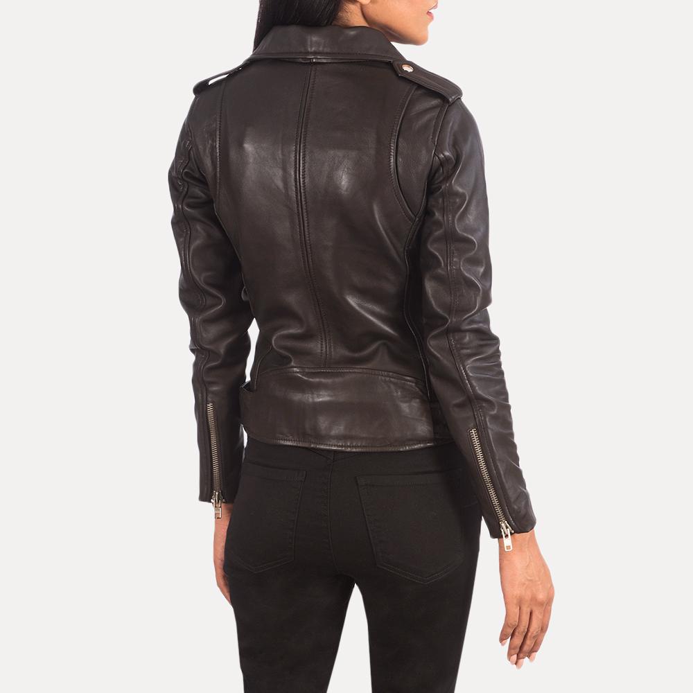 Women's Alison Brown Leather Biker Jacket 5