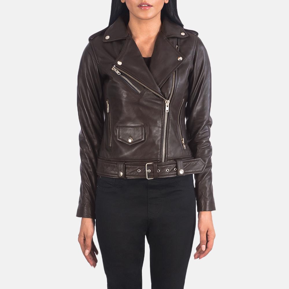 Women's Alison Brown Leather Biker Jacket 4