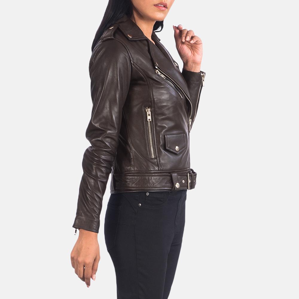 Women's Alison Brown Leather Biker Jacket 2