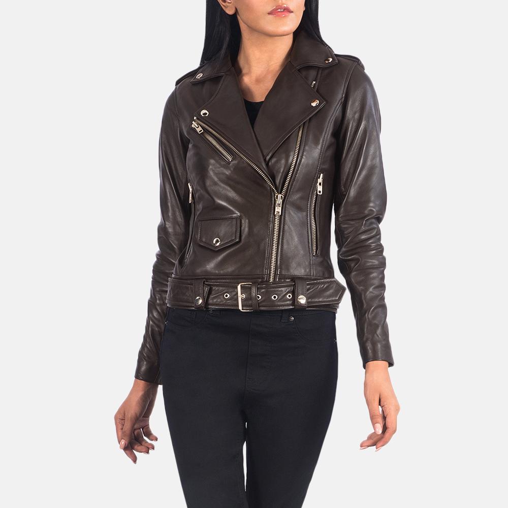 Women's Alison Brown Leather Biker Jacket 6