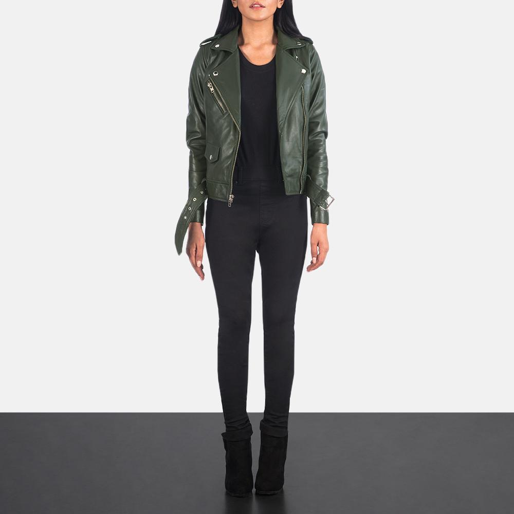 Women's Alison Green Leather Biker Jacket 1