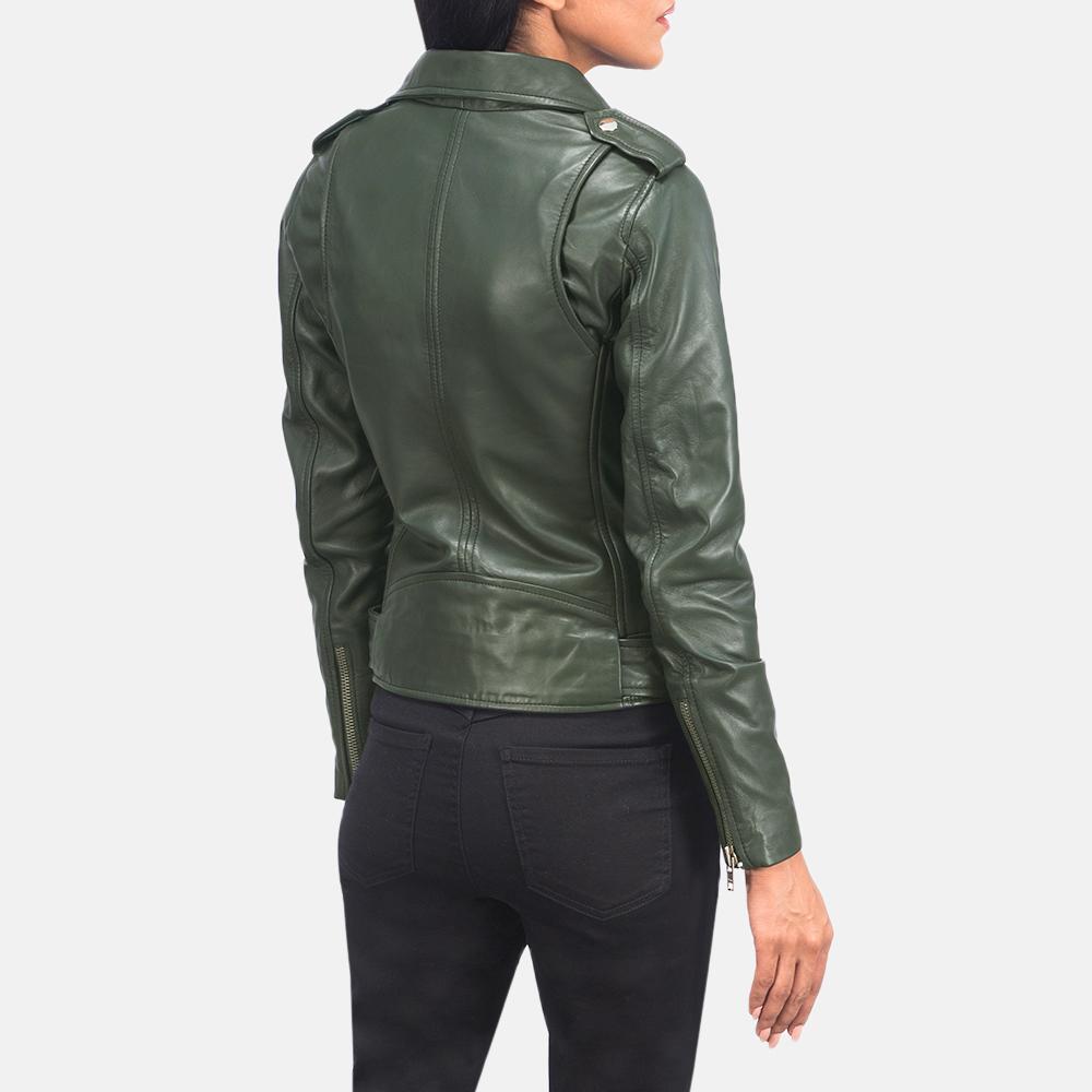 Women's Alison Green Leather Biker Jacket 5