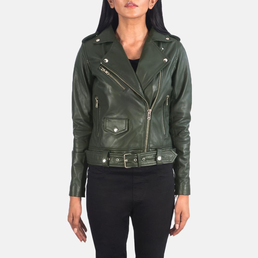 Women's Alison Green Leather Biker Jacket 4