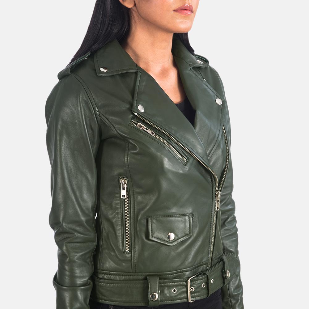 Women's Alison Green Leather Biker Jacket 6