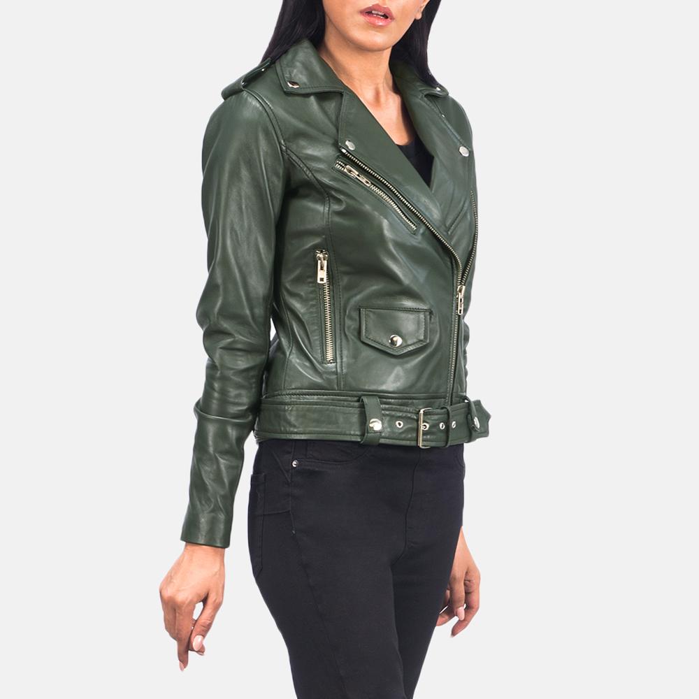 Women's Alison Green Leather Biker Jacket 3