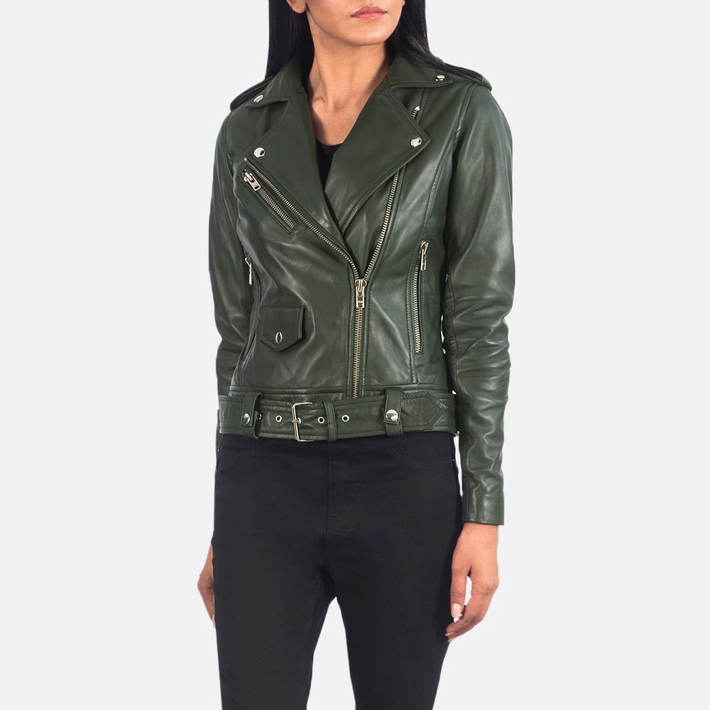 Women's Alison Green Leather Biker Jacket 2