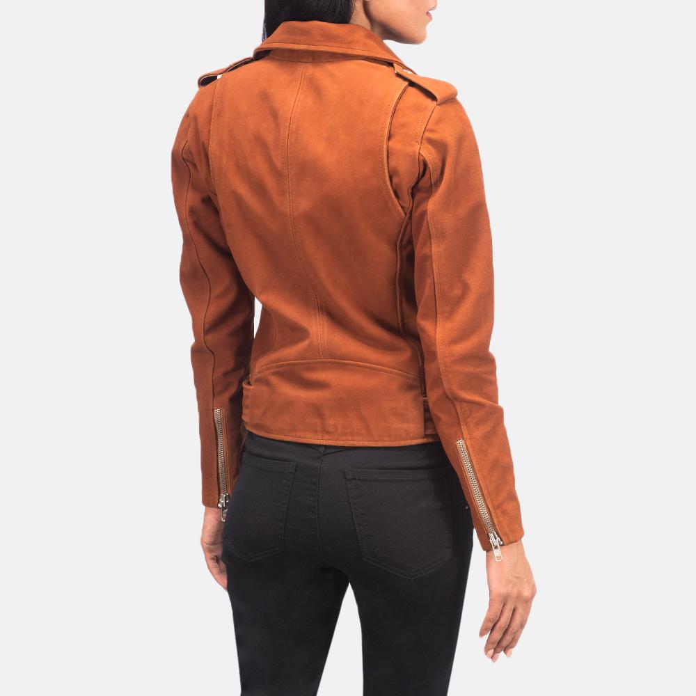 Women's Alison Brown Suede Biker Jacket 5