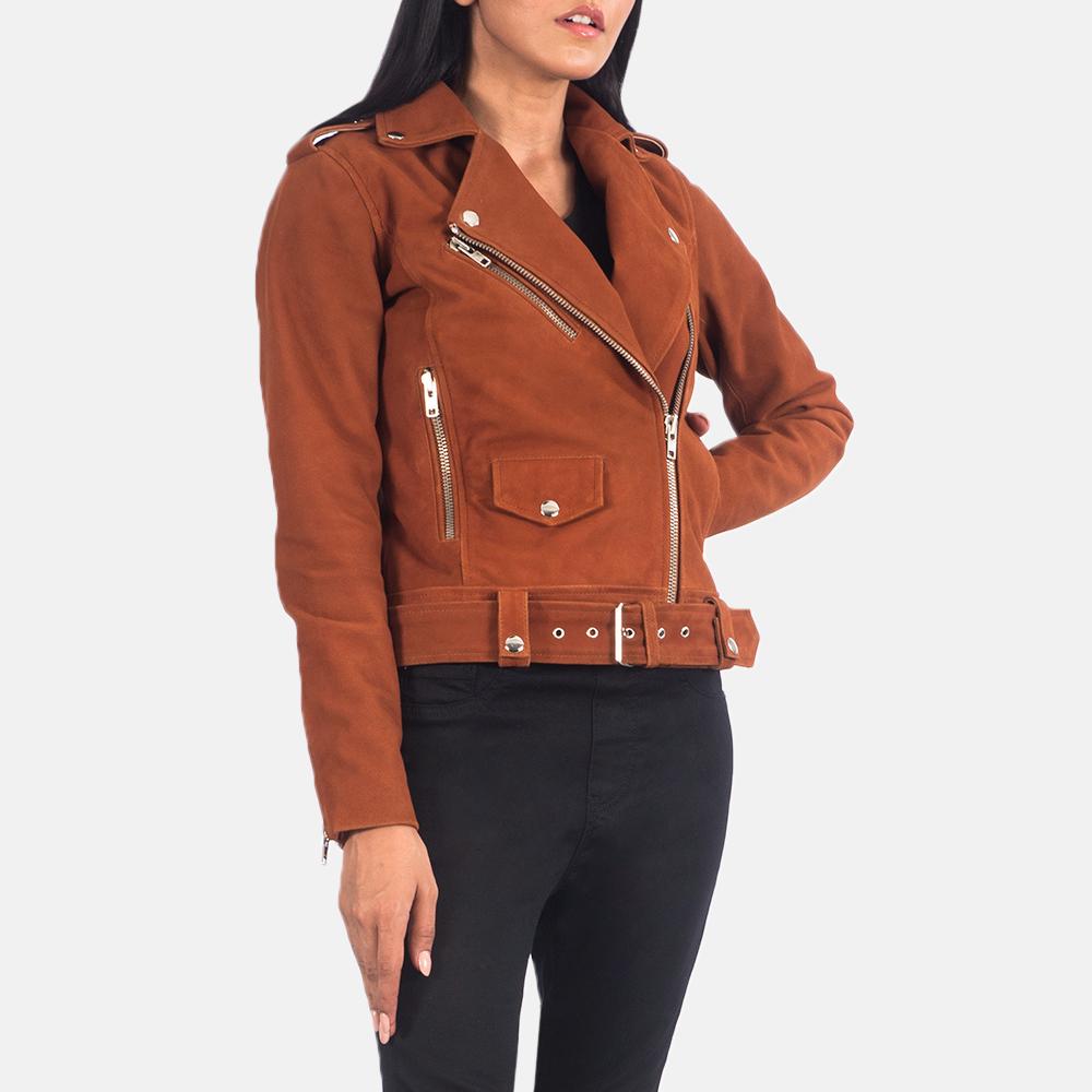 Women's Alison Brown Suede Biker Jacket 2