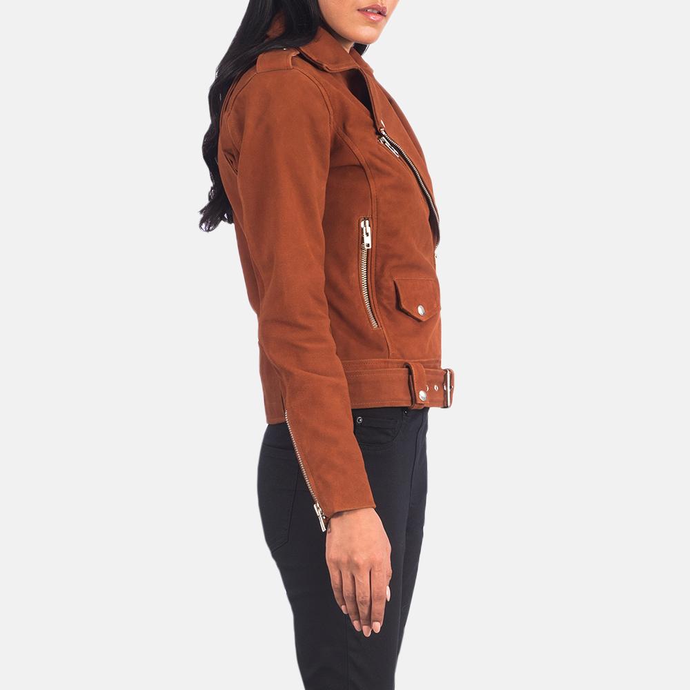 Women's Alison Brown Suede Biker Jacket 4