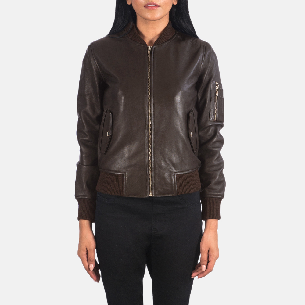 Women's Ava Ma-1 Brown Leather Bomber Jacket 4