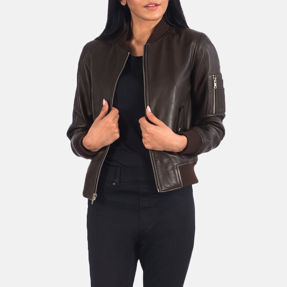 Women's Ava Ma-1 Brown Leather Bomber Jacket 1