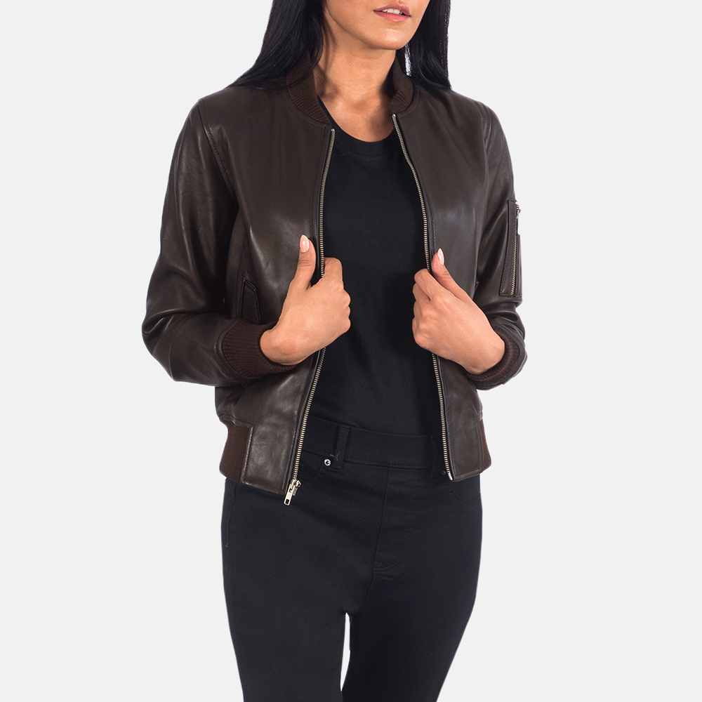 Women's Ava Ma-1 Brown Leather Bomber Jacket 6