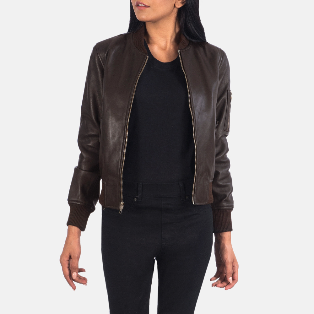 Women's Ava Ma-1 Brown Leather Bomber Jacket 3