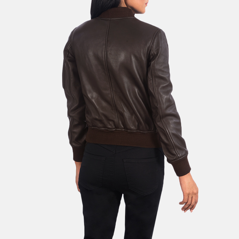 Women's Ava Ma-1 Brown Leather Bomber Jacket 5