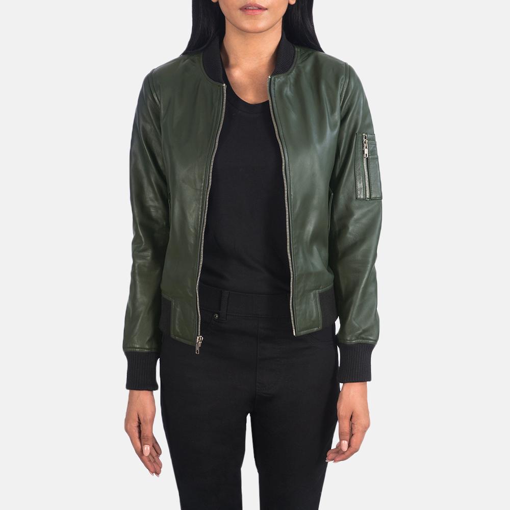 Ava Ma-1 Green Leather Bomber Jacket 3