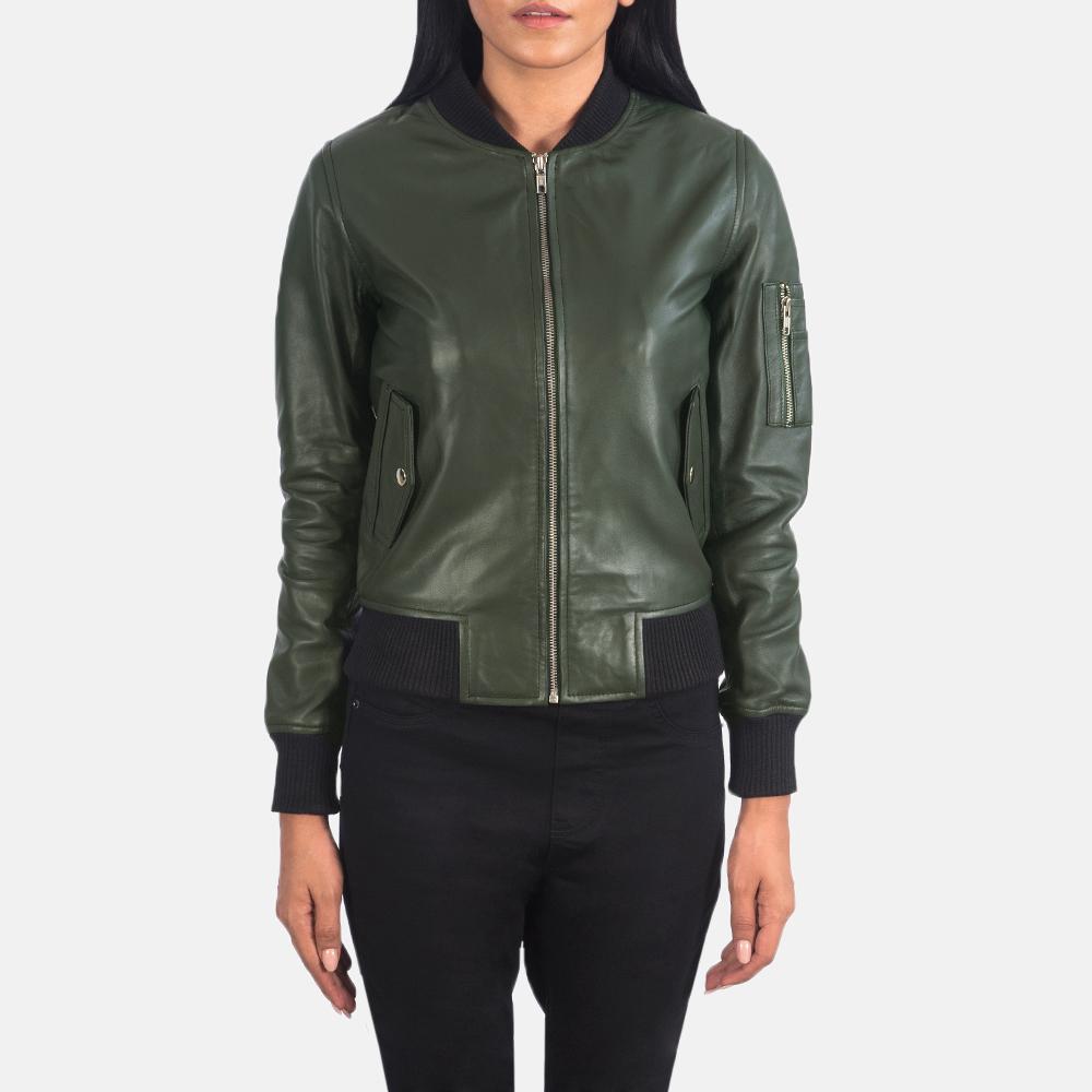 Ava Ma-1 Green Leather Bomber Jacket 4