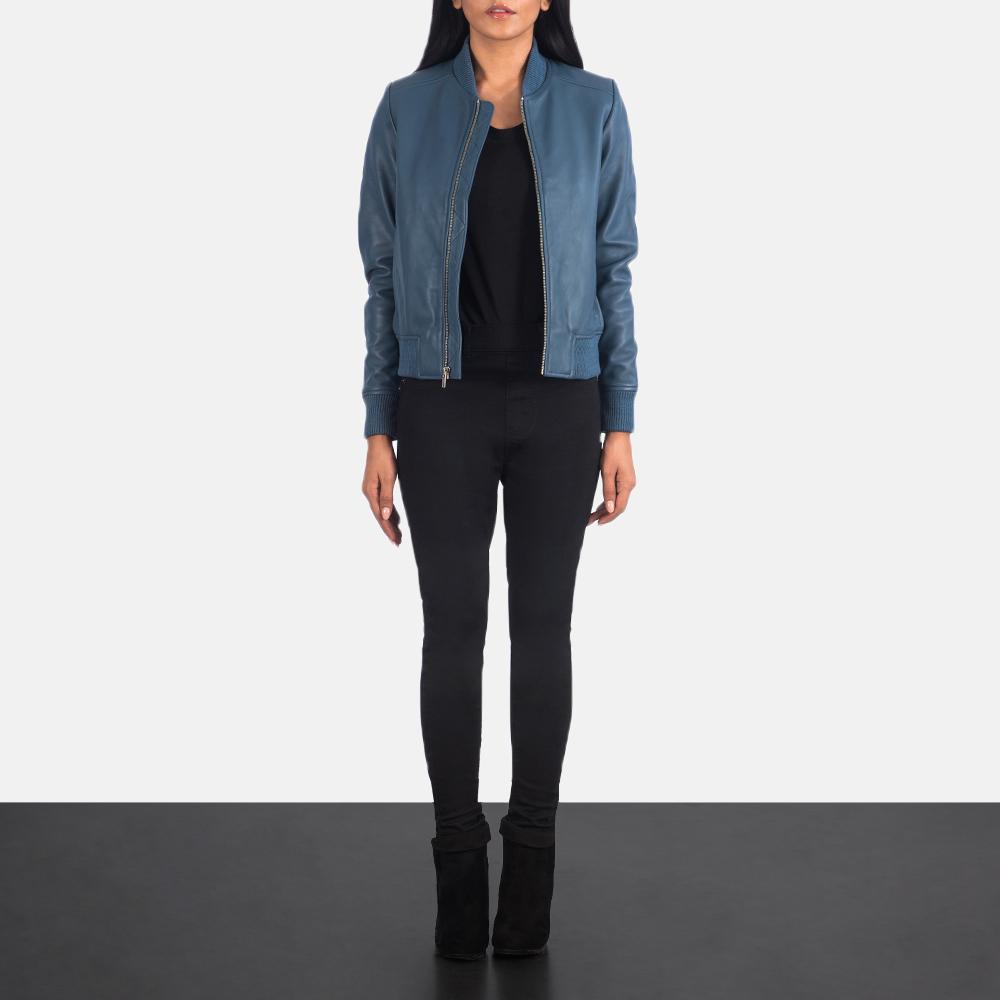 Women's Bliss Blue Leather Bomber Jacket 1