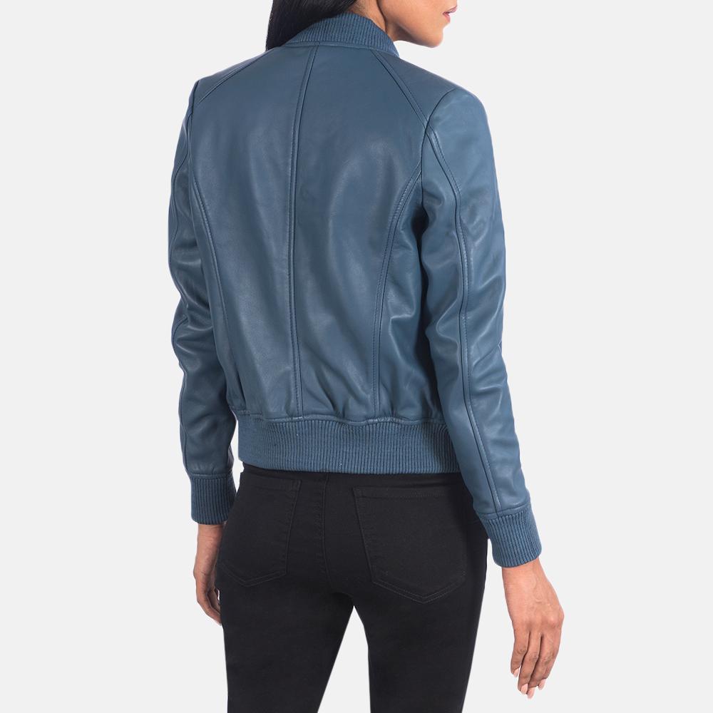Women's Bliss Blue Leather Bomber Jacket 5