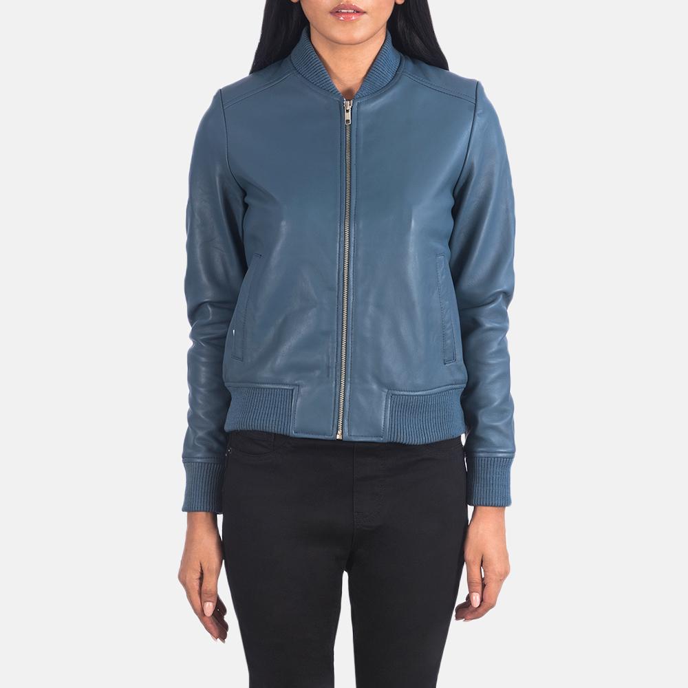 Women's Bliss Blue Leather Bomber Jacket 4