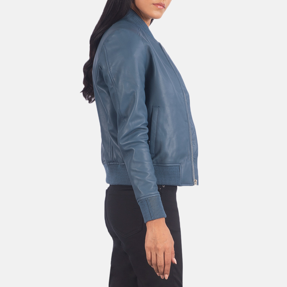 Women's Bliss Blue Leather Bomber Jacket 6