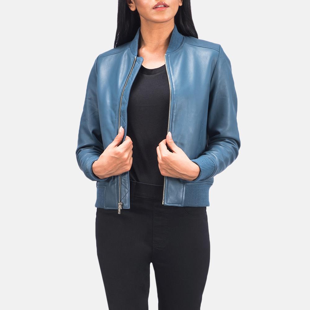 Women's Bliss Blue Leather Bomber Jacket 2