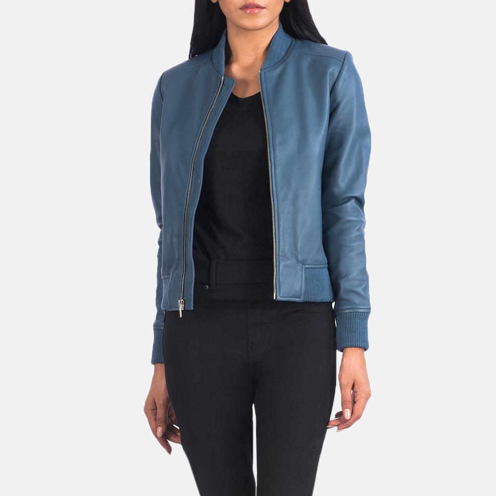 Women's Bliss Blue Leather Bomber Jacket 3