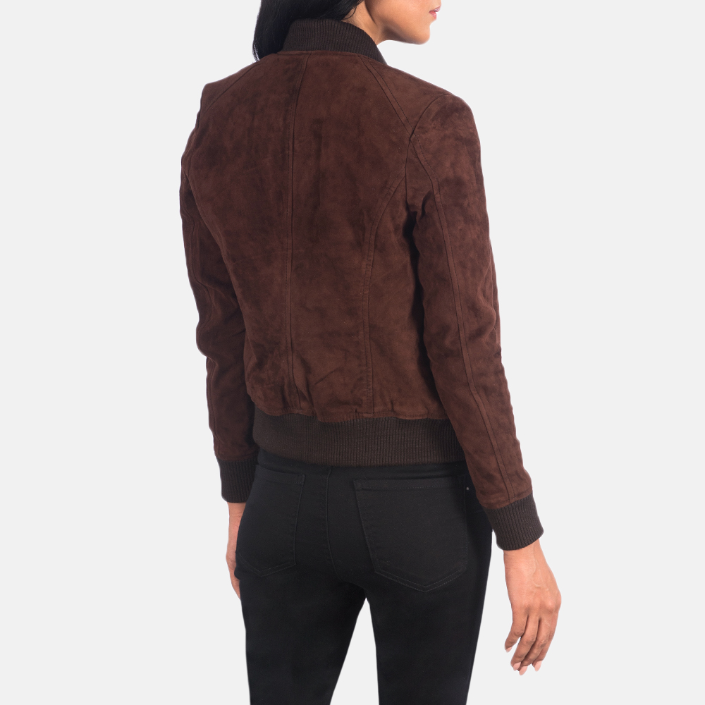 Women's Bliss Brown Suede Bomber Jacket 5