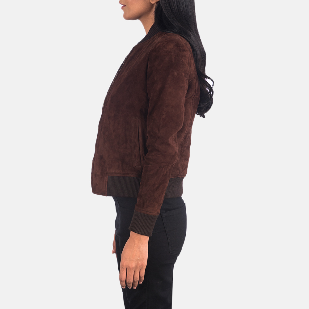 Women's Bliss Brown Suede Bomber Jacket 6