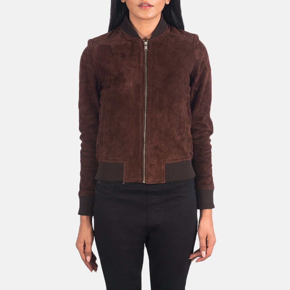 Women's Bliss Brown Suede Bomber Jacket 4