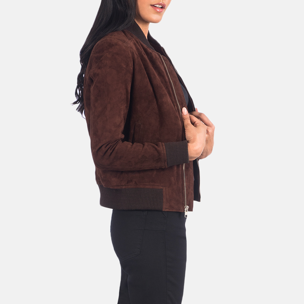 Women's Bliss Brown Suede Bomber Jacket 2
