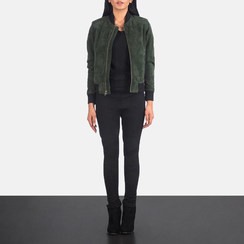 Women's Bliss Green Suede Bomber Jacket 1