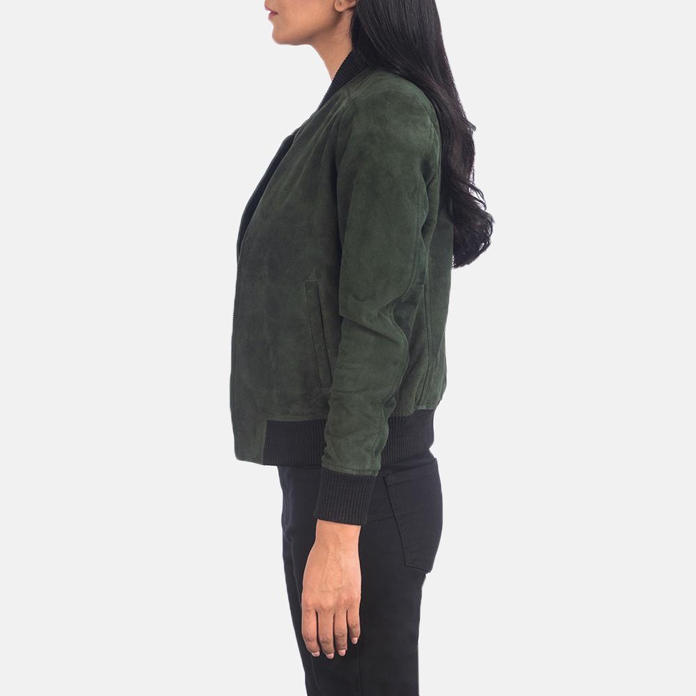 Women's Bliss Green Suede Bomber Jacket 6