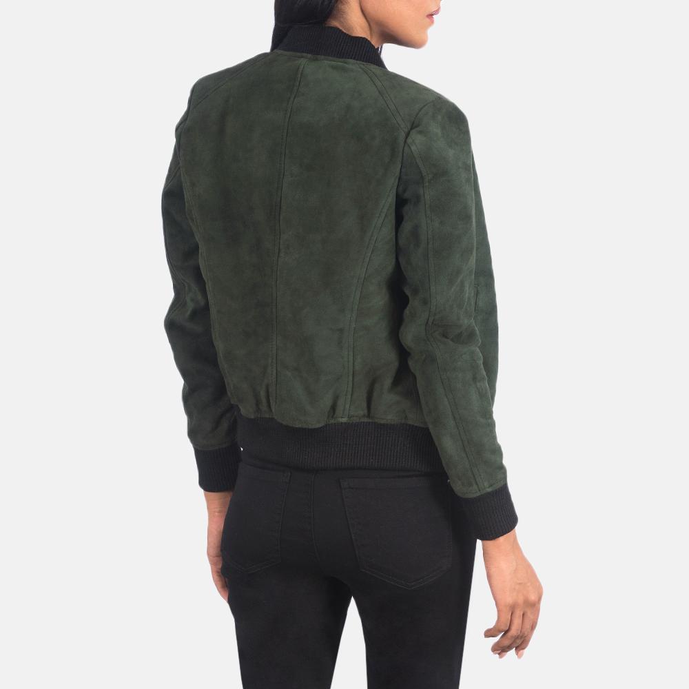Women's Bliss Green Suede Bomber Jacket 5