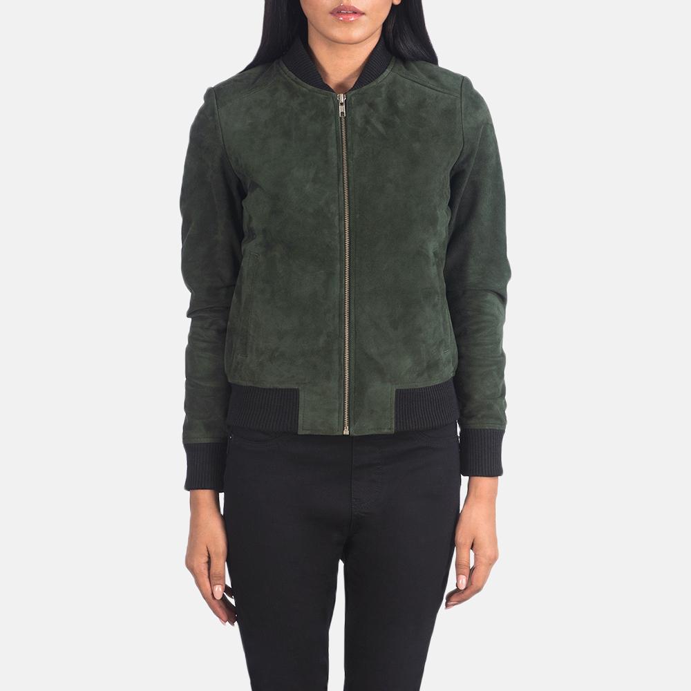 Women's Bliss Green Suede Bomber Jacket 4