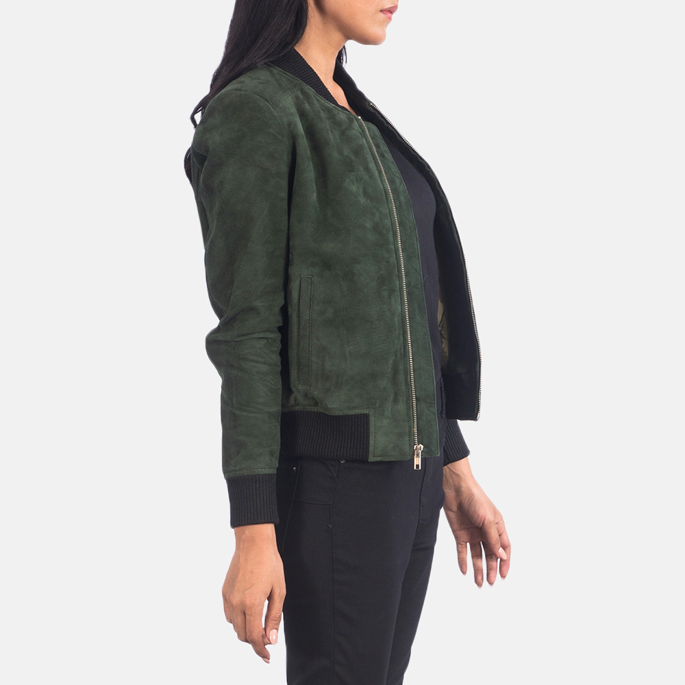 Women's Bliss Green Suede Bomber Jacket 2