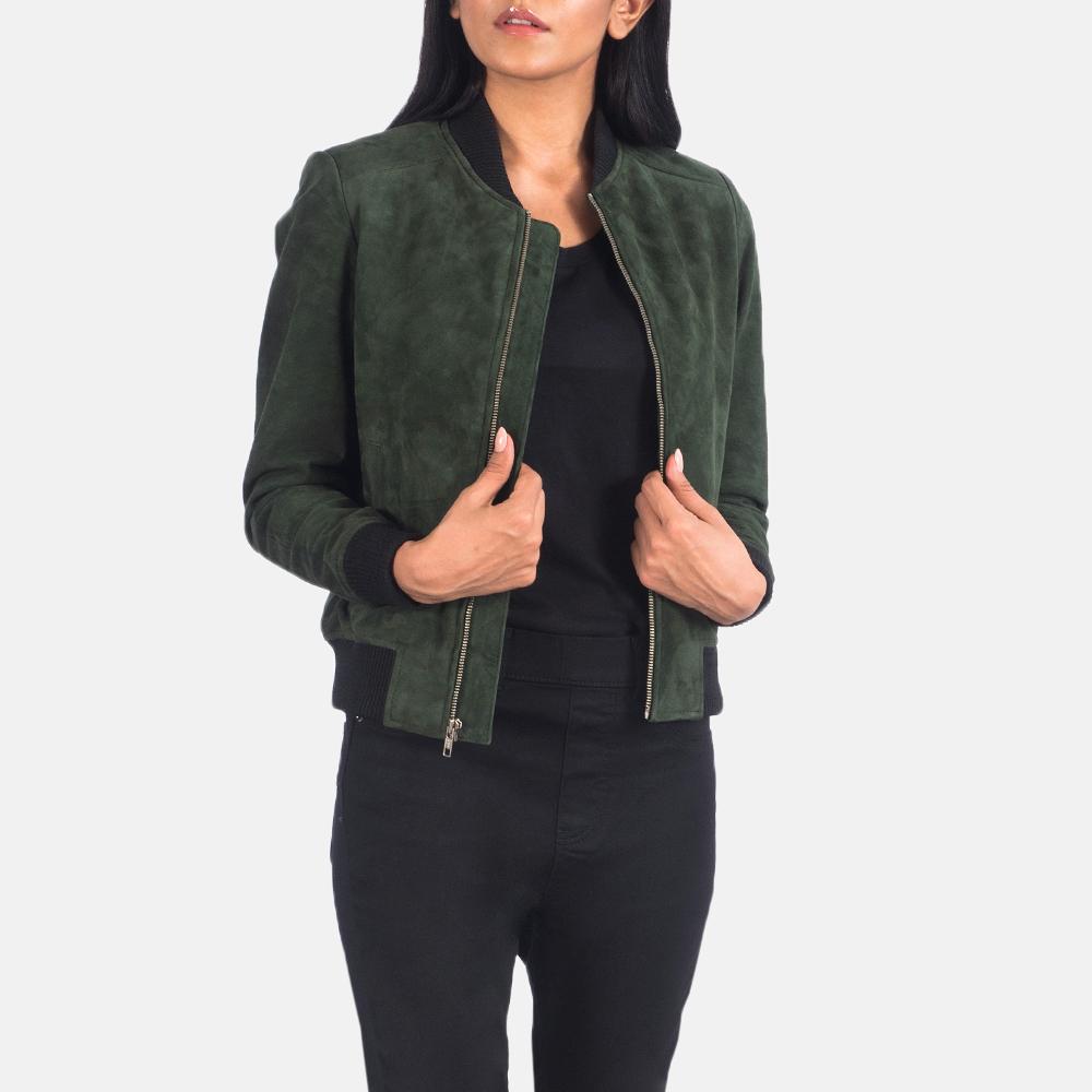 Women's Bliss Green Suede Bomber Jacket 3