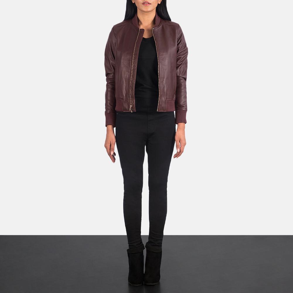 Women's Bliss Maroon Leather Bomber Jacket 1