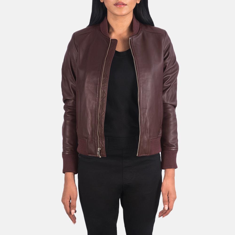 Women's Bliss Maroon Leather Bomber Jacket 3