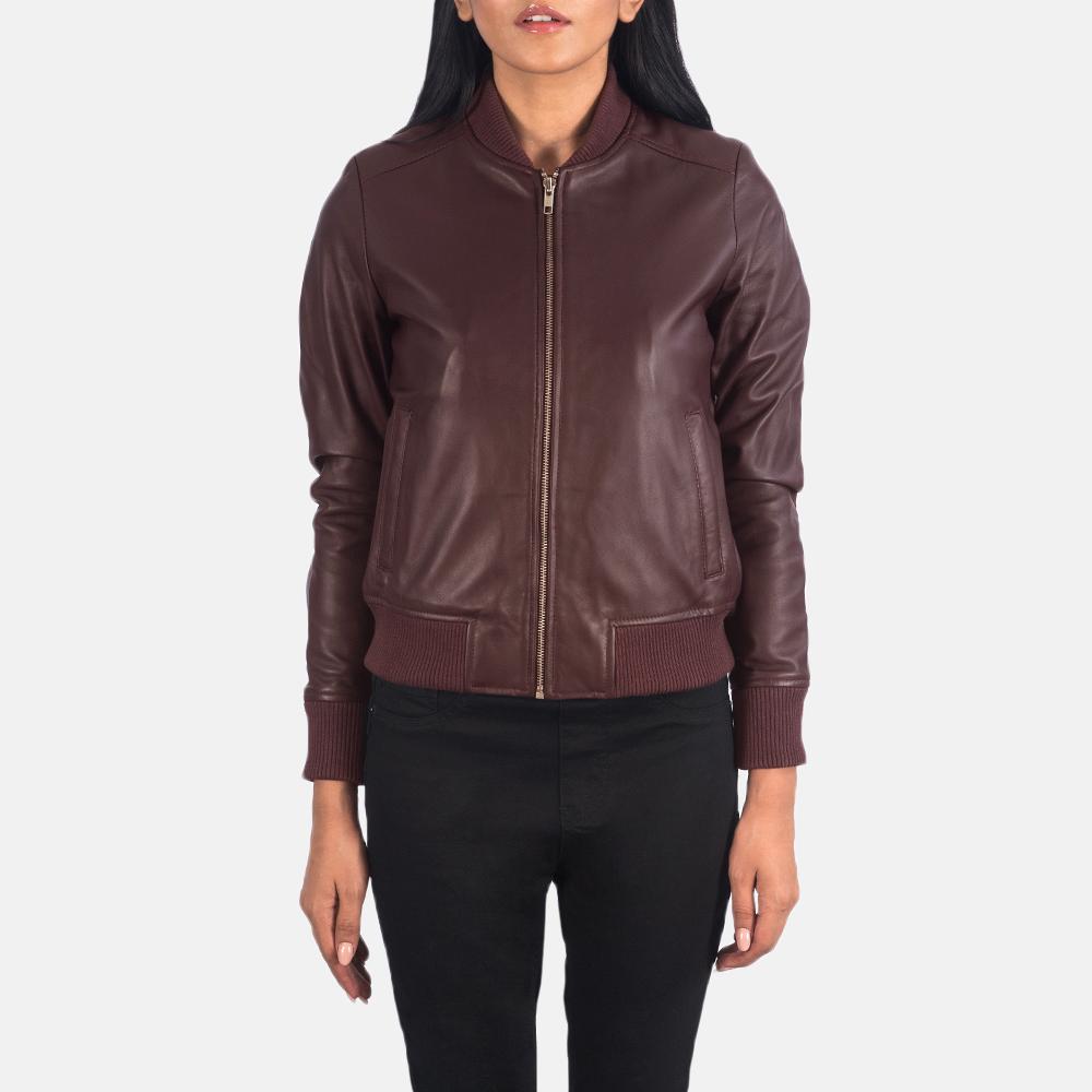 Women's Bliss Maroon Leather Bomber Jacket 4