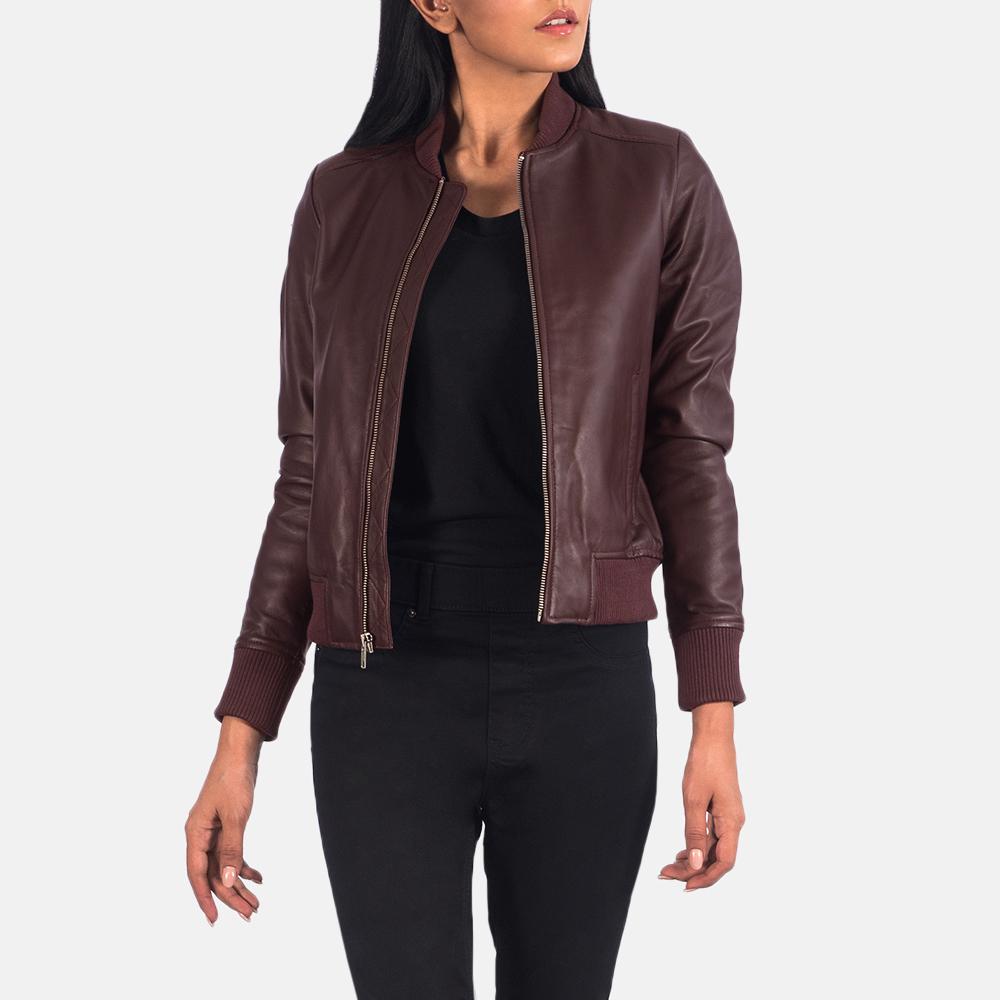 Women's Bliss Maroon Leather Bomber Jacket 6