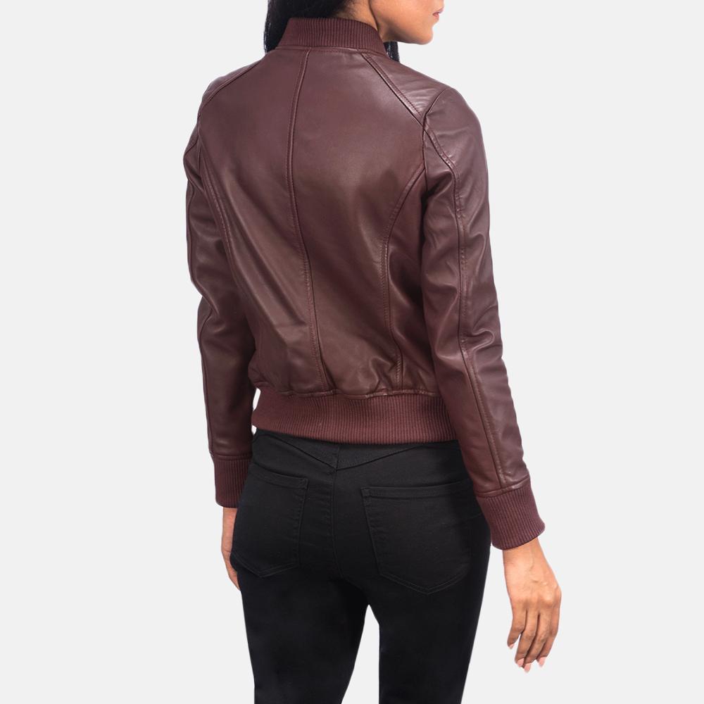 Women's Bliss Maroon Leather Bomber Jacket 5