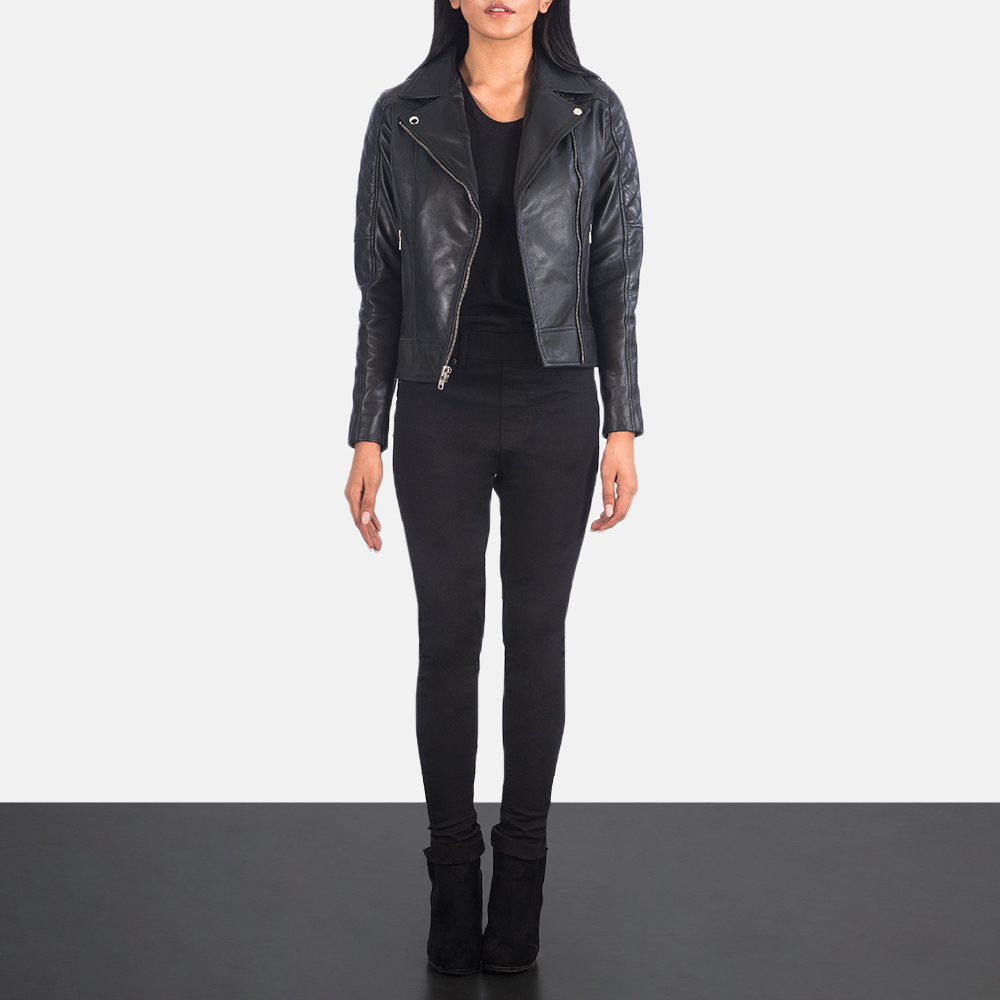 Women's Carolyn Quilted Black Biker Jacket 1