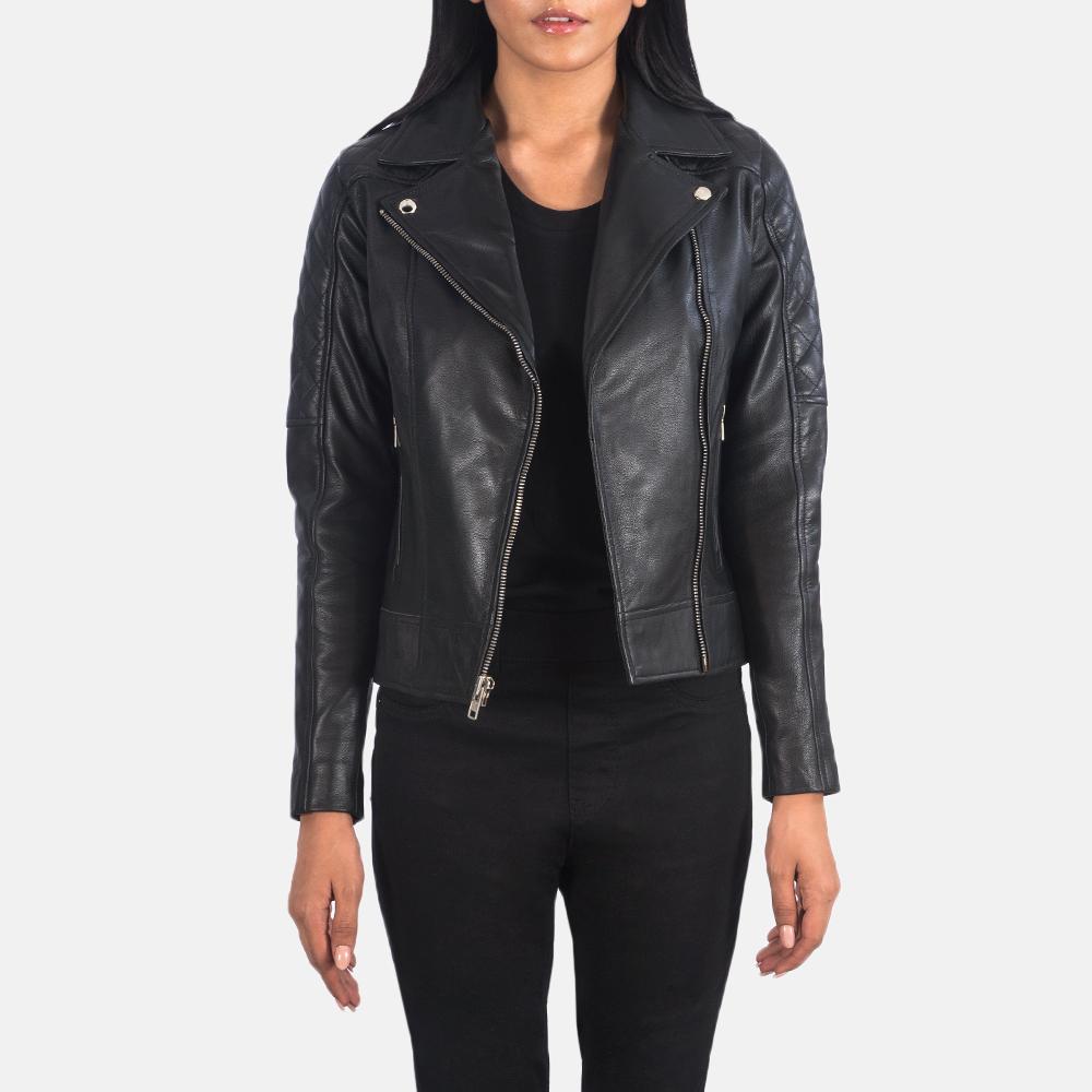 Women's Carolyn Quilted Black Biker Jacket 3